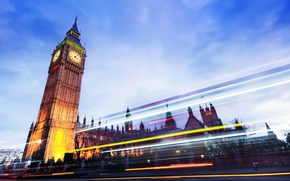 Picture road, light, the city, lights, London, the evening, excerpt, UK, Big Ben