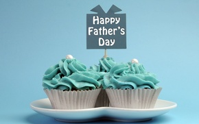 Picture plate, cakes, sweet, cupcakes, Happy Father's Day