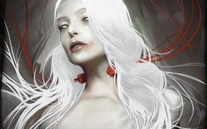 Picture girl, wire, art, white hair, yayashin