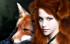 Picture eyes, look, girl, face, berries, fiction, animal, hair, Fox, freckles, red