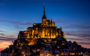 Picture sunset, the city, shore, France, island, the evening, lighting, fortress, France, Mont-Saint-Michel, The Mont-St.-Michel, Basse-Normandie, …