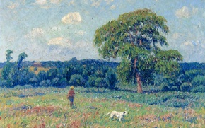 Picture the sky, trees, picture, meadow, Henri Sea, Landscape with a hunter and his dog