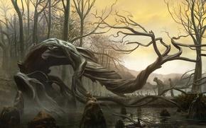 Picture water, trees, landscape, stones, swamp, spirit, art, leash, curves, prisoner