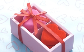 Picture mood, gift, heart, ribbon, box