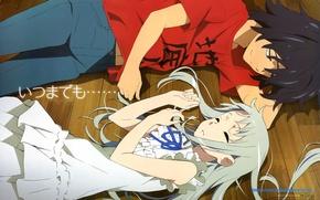 Picture love, sleep, blonde, pair, floor, anime, brunette, lie, many, ano hana, ano ho mita