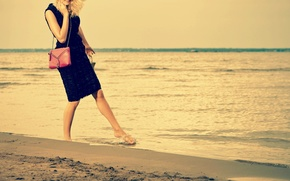 Picture sand, sea, beach, water, girl, joy, smile, background, Wallpaper, mood, wave, dress, wallpaper, handbag, girl, …
