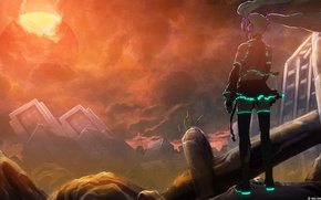 Wallpaper the sky, the sun, clouds, the city, disaster, vocaloid, hatsune miku, Vocaloid