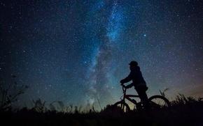 Wallpaper night, field, darkness, boy, star, silhouette, bike, Milky Way, mystery