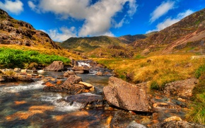 Picture the sky, clouds, mountains, river, stones, stream, UK, Snowdonia
