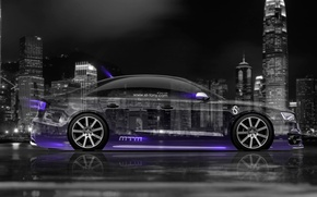 Picture Audi, Auto, Night, Audi, The city, Neon, Machine, Wallpaper, City, Car, Purple, Art, Art, Photoshop, …