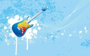 Wallpaper guitar, vector, notes, blue, music