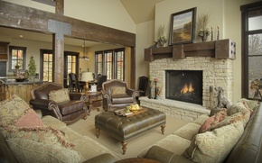 Picture house, wood, interior, fireplace, living space
