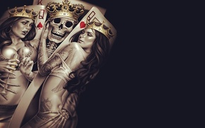 Wallpaper sake, Queen, Cup, poker, bones, tattoos, Crown, King, seduction, skeleton