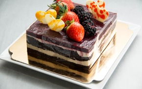 Picture berries, heart, strawberry, cake, cake, BlackBerry, Strawberry, sweet, Cake, Sweets