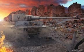 Picture Wallpaper, tiger, world of tanks, wot, tiger-1, tirg-1