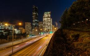 Picture lights, USA, United States, skyline, night, skyscraper, evening, Washington, traffic, buildings, Seattle, America, United States …