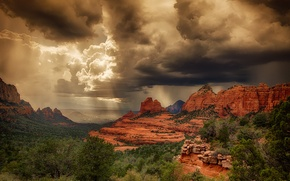 Picture summer, light, storm, rocks, desert, AZ, USA, Sedona