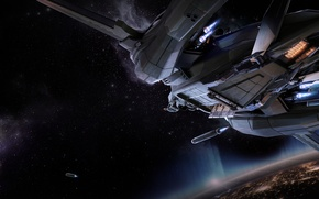 Picture space, the explosion, planet, fighter, Star Citizen, Vanguard