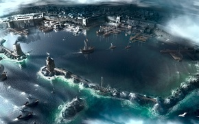 Picture sea, the city, ships, port, assassins creed, acres