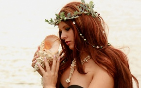 Wallpaper BODY, GIRL, SEA, HAIR, SURF, BROWN hair, SHELL, MOOD, BEADS, NOISE, WREATH, CURLS, SHOULDERS, SINK