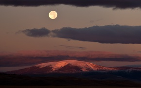 Picture moon, United States, twilight, clouds, dusk, full moon, Montana, Mount Baldy