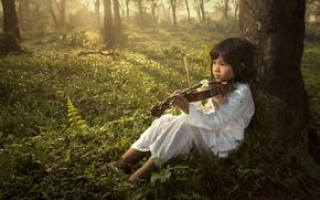 Picture music, child, violin