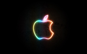 Wallpaper Neon, apple, logo, black