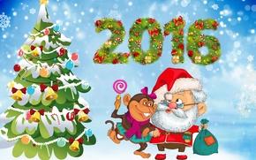 Picture tree, monkey, New year, New Year, Monkey, 2016