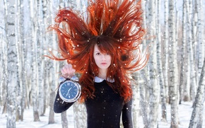 Picture forest, snow, hair, watch, alarm clock, the red-haired girl, Spring Time