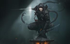 Picture look, girl, weapons, art, hood, armor