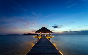 Picture landscape, sunset, the ocean, resort, Bungalow, Maldives, Kihaadhuffaru Island