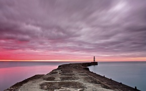 Picture sea, dawn, lighthouse, pierce