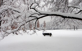 Picture winter, snow, Park, bench