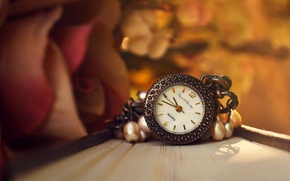 Picture flower, watch, rose, book, suspension
