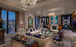 Picture interior, chandelier, drinks, sofas, living room