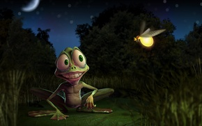 Wallpaper frog, Firefly, smile, swamp