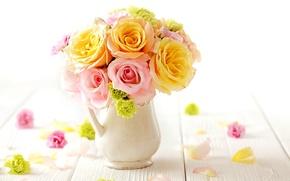 Picture roses, bouquet, gentle, flowers, bouquet, roses, tender, pastel