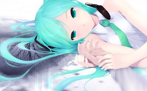 Picture girl, Wallpaper, anime, Vocaloid, Hatsune Miku