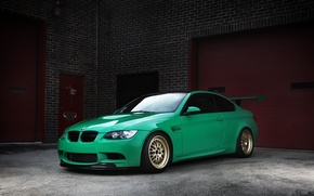 Picture gate, green, BMW, bmw, wheels, e92, brick wall, wing, green