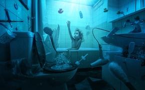 Picture water, bubbles, girl, bath