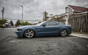 Picture Mustang, Ford, Road, drives, chrome, blue, side