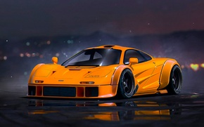 Picture McLaren, Orange, Tuning, Future, Supercar, Nigth, by Khyzyl Saleem
