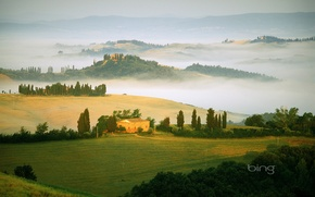 Picture fog, field, Italy