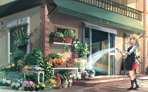 Wallpaper akira, girl, water, hose, the city, pours, art, shop, apron, flowers