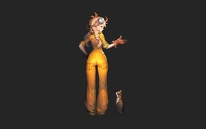 Wallpaper cat, minimalism, yellow clothes, girl, jumpsuit, black background, gesture
