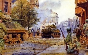 Picture the city, war, street, smoke, building, battle, Americans, soldiers, devastation, ruins, tanks, Sherman, wood two …
