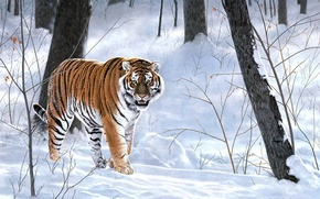 Picture winter, forest, animals, tiger, painting, taiga, Charles Frace, Emperor Of Siberia