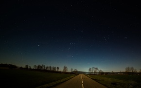 Picture road, field, the sky, stars, trees, village