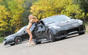 Picture Girl, Trees, Leaves, Honda, Nissan 350z