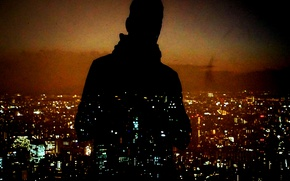 Picture night, man, cityscape, silhouette